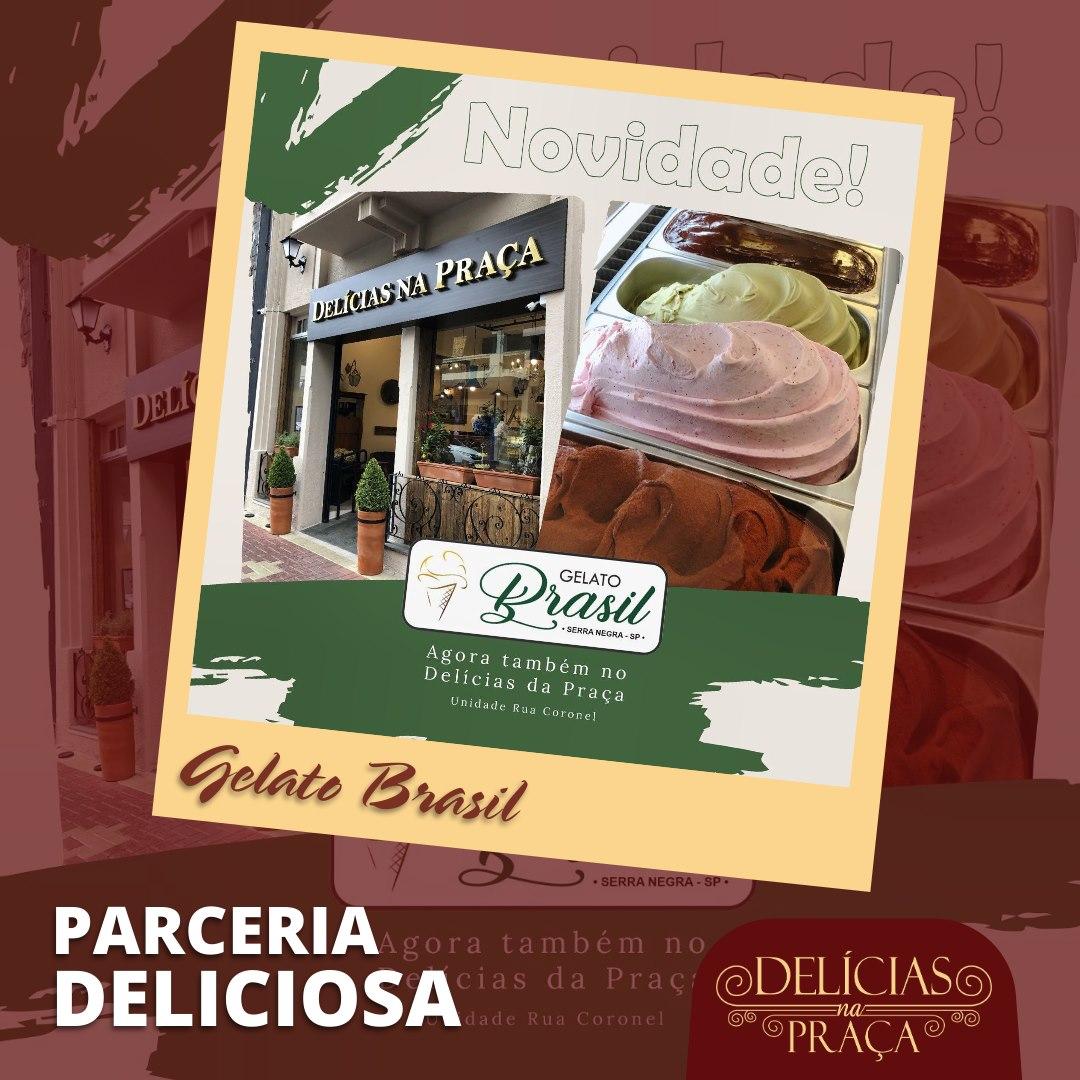 Fim de semana com brownie autêntico com gelato no Delícias na Praça