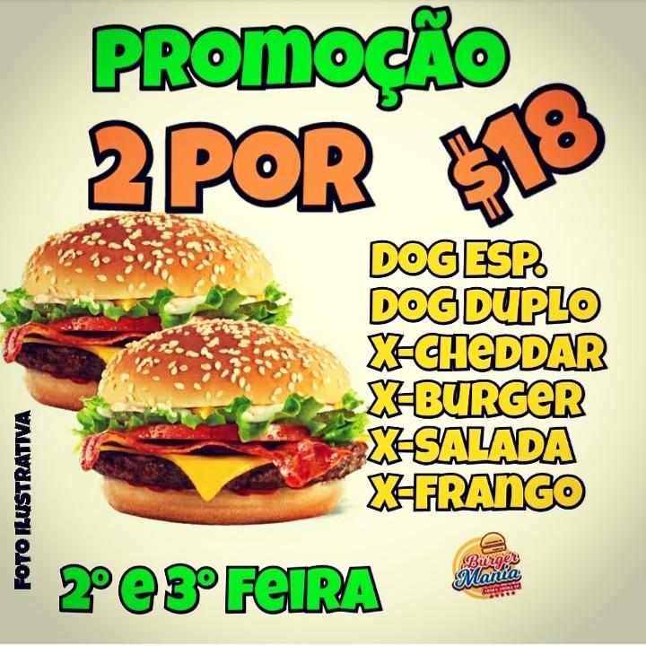 Burger Mania começa a semana com dois lanches pelo preço de um