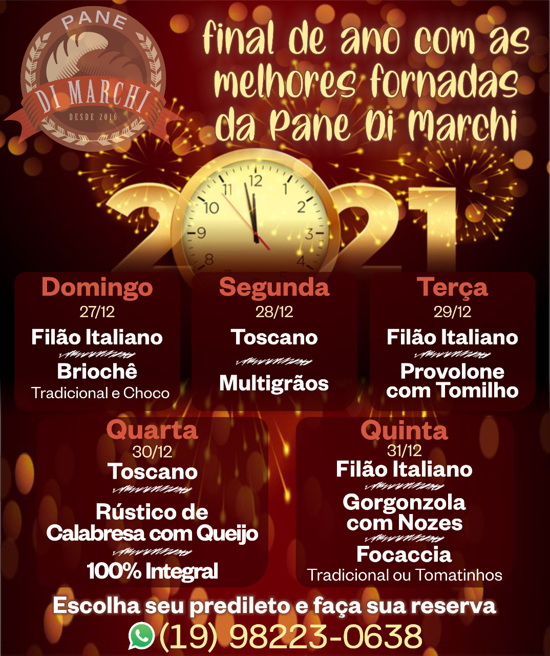 Pane Di Marchi tem fornadas especiais para o domingo