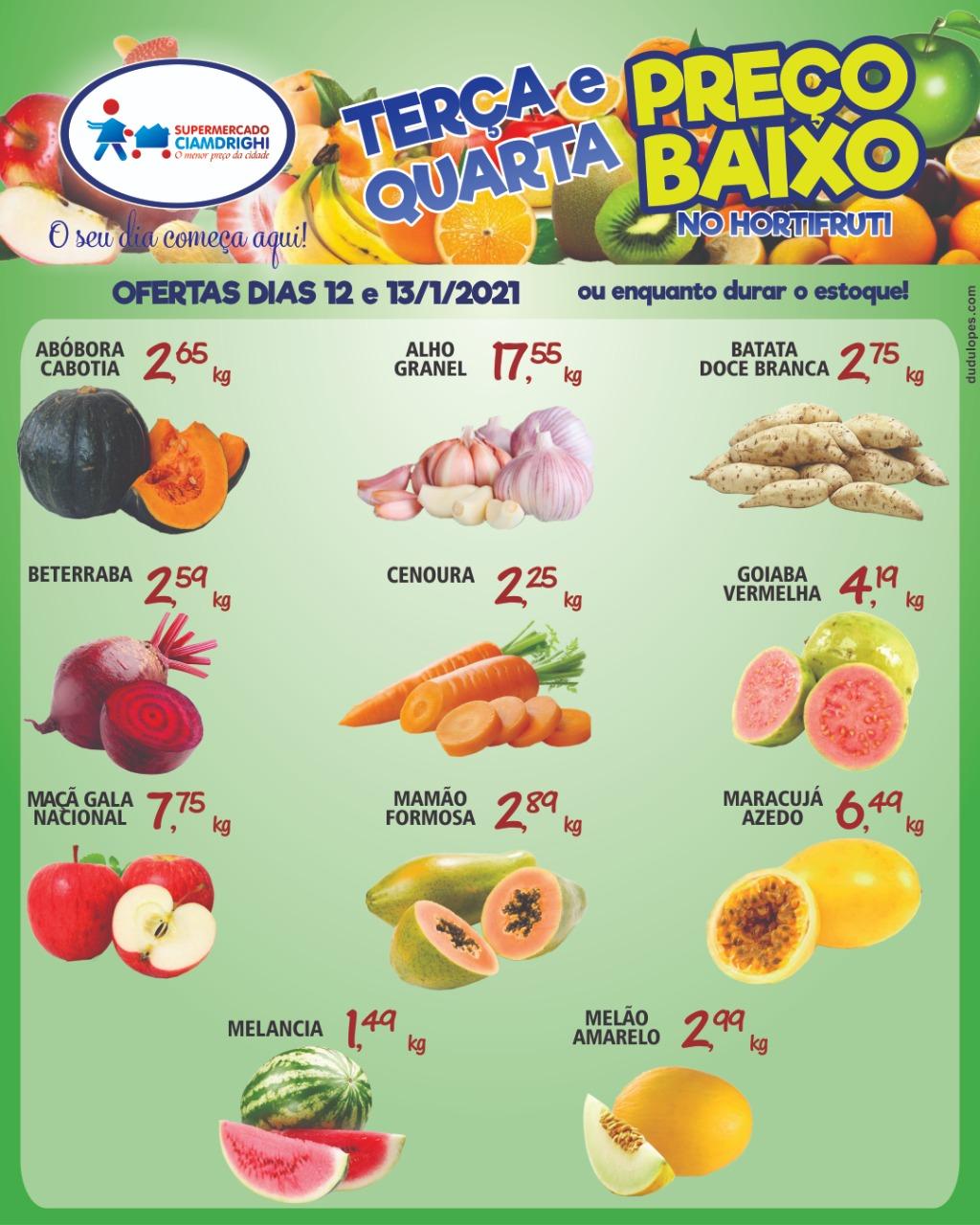 Ciamdrighi tem 11 ofertas de hortifrúti para a terça e quarta-feira
