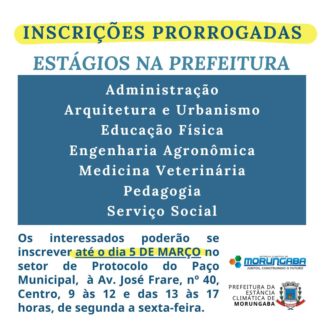 Prorrogadas inscrições para estágios em diversos setores da Prefeitura de Morungaba