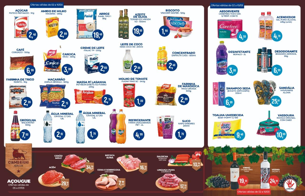 Ciamdrighi tem ofertas para o seu fim de semana no açougue, padaria e muito mais