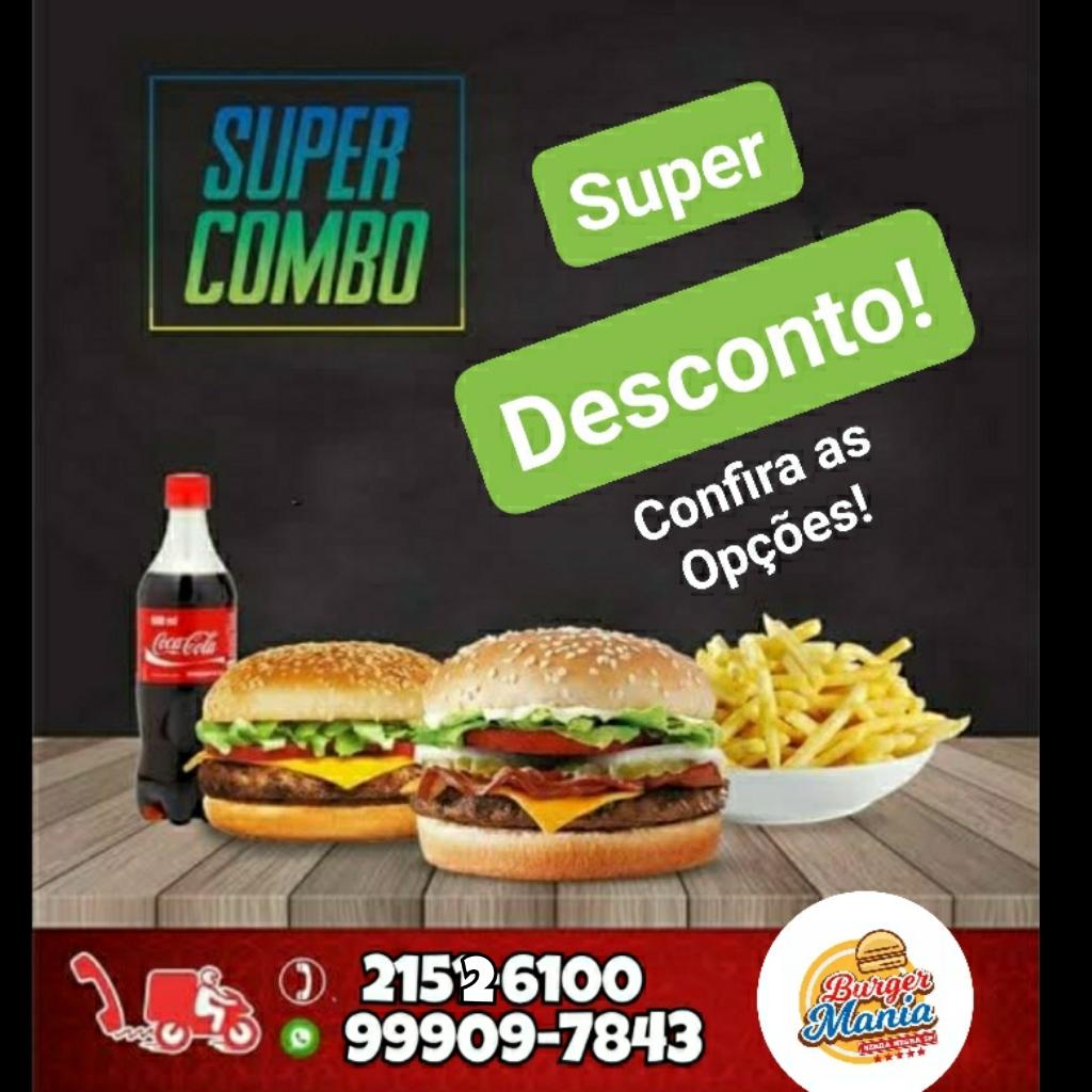 Burger Mania tem seis combos com lanches, batata frita e Coca-Cola 600ml, para o sábado