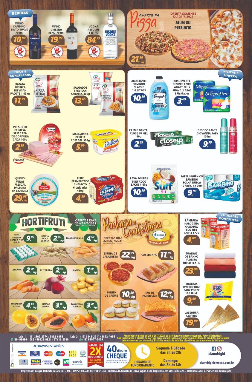 Pizzas, hortifrúti, congelados, frios e muito mais em oferta no Ciamdrighi