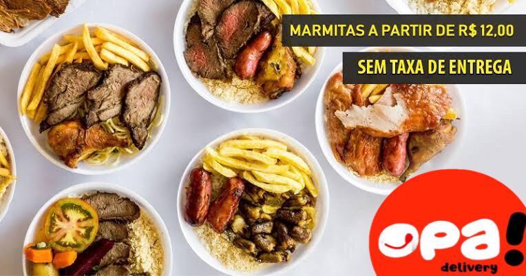 Frango à passarinho, costelinha, isca de peixe, macarrão com legumes, batata frita, farofa da casa e muito mais no Opa Marmitaria