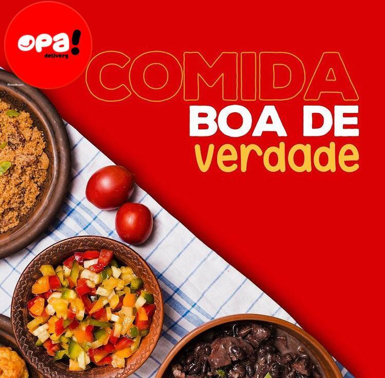 Linguiça de churrasco, frango grelhado, macarrão à moda, batata frita e muito mais no  feriado do Opa Delivery