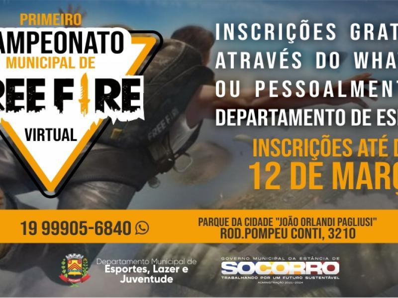 Departamento de Esportes realizará o primeiro campeonato online de Free Fire de Socorro
