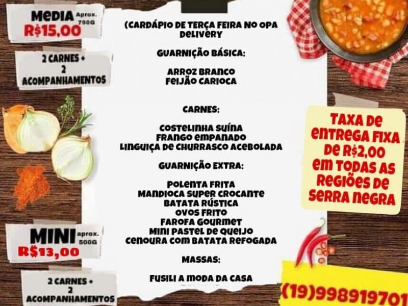 Costelinha suína, frango empanado, linguiça de churrasco e muito mais, no Opa Marmitaria